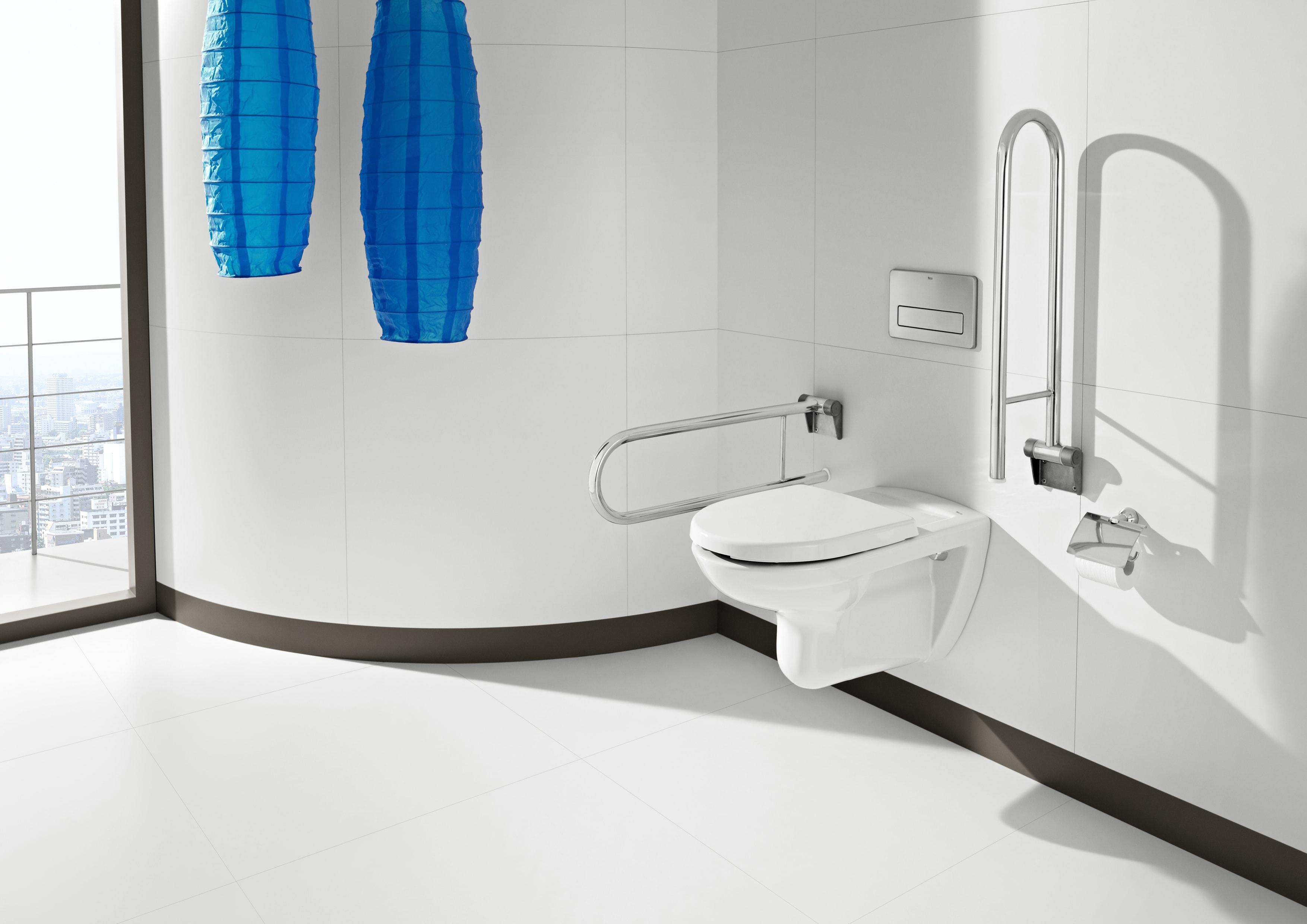 Toilettes suspendues avec barres d'appui